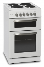 MONTPELLIER COOKER TWIN CAVITY 50CM WHITE SOLID PLATE HOB