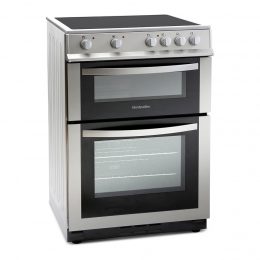MONTPELLIER SILVER 60CM ELECTRIC COOKER WITH DOUBLE OVEN AND CERAMIC HOB