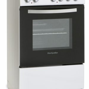 MONTPELLIER WHITE 50CM SINGLE CAVITY ELECTRIC COOKER WITH SOLID PLATE HOB
