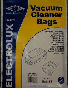 Electrolux E10 E42 E42N MICROLITE LITE Z1600 Z1640 Z1854 Electruepart Bag 81