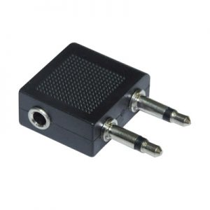 3.5mm Mono plug x 2 – 3.5mm Stereo socket Airplane adapter