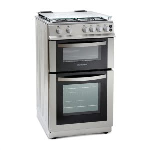 MONTPELLIER SILVER 50CM DOUBLE GAS COOKER LIDDED